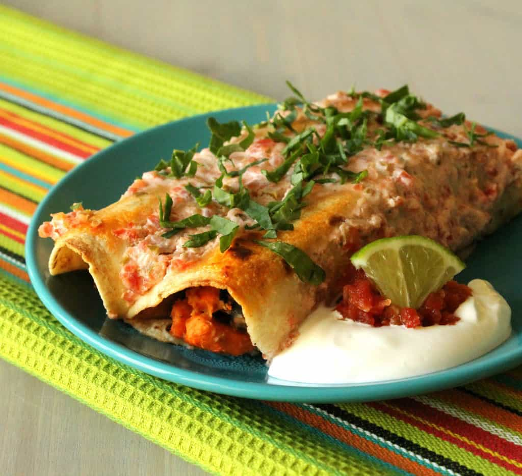 Sweet Potato Black Bean And Kale Enchiladas Via Foodtastic Mom For A Little Mexican Inspired Kick Try This Sweet Potato Enchilada Recipe That S Meatless