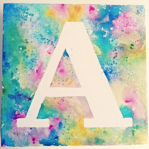 8 kids 39 name or monogram art print ideas for Simple watercolor paintings for kids