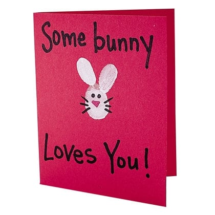 Bunny Valentine Card (via Spoonful) This Sweet Fingerprint Card Is Just As  Easy To Make As It Is Adorable And Ideal For Little Tots To Have A Hand In  ...