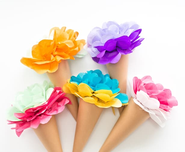 Make tissue paper ice cream cone flowers for Flower making at home