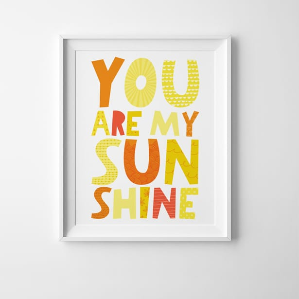 image about You Are My Sunshine Free Printable known as By yourself ARE MY Sunlight No cost PRINTABLE Artwork PRINT