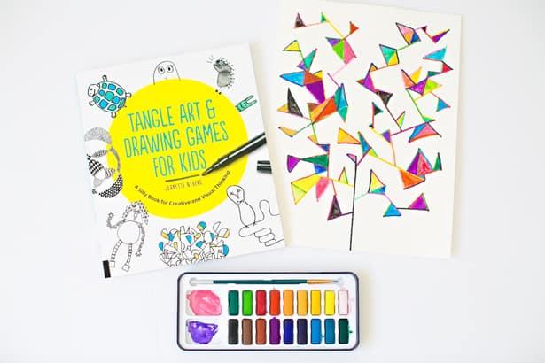 Easy Watercolor Geometry Tree Art Project For Kids