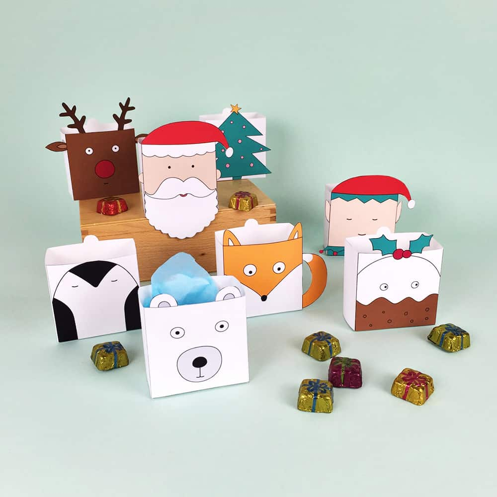 Cute free printable christmas holiday favor boxes jeuxipadfo Images