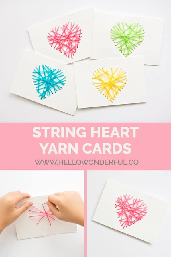 These fun DIY string heart yarn cards are a wonderful fine motor skill activity and make a lovely handmade Valentine!