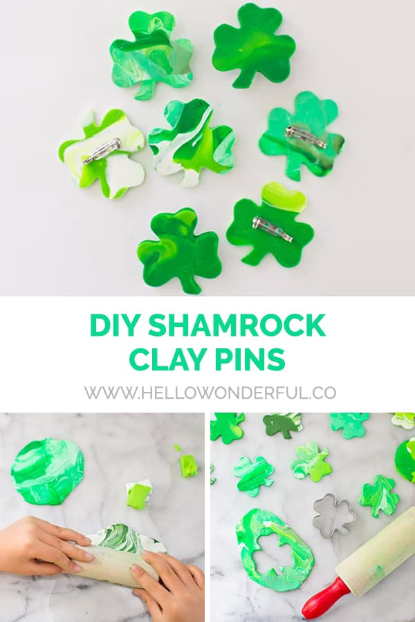 DIY Shamrock Clay Pins kids can make for St. Patrick's Day