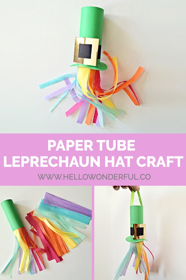 Make a cute Paper Tube Leprechaun Hat Craft for St. Patrick's Day!