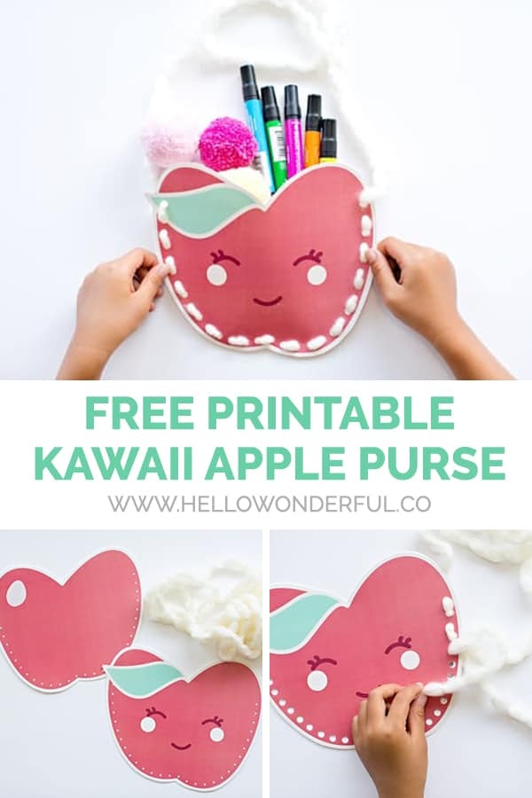An adorable free printable kawaii apple purse