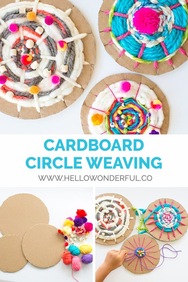 Easy kid-made woven art from cardboard circles and yarn.
