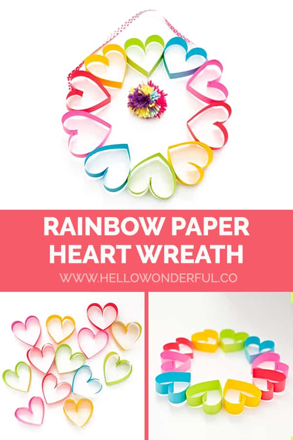 Make an easy DIY rainbow paper heart wreath craft for Valentine's Day!