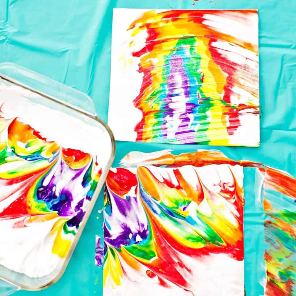 Rainbow Shaving Cream Marbled Art