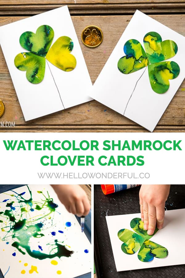 Kid-Made Watercolor Shamrock Clover Cards - a process art activity for St. Patrick's Day