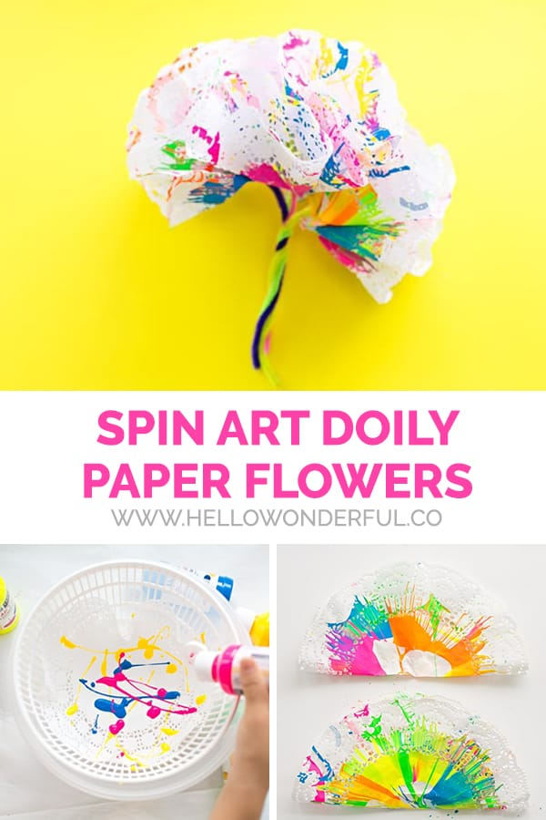 Spin Art Doily Flowers