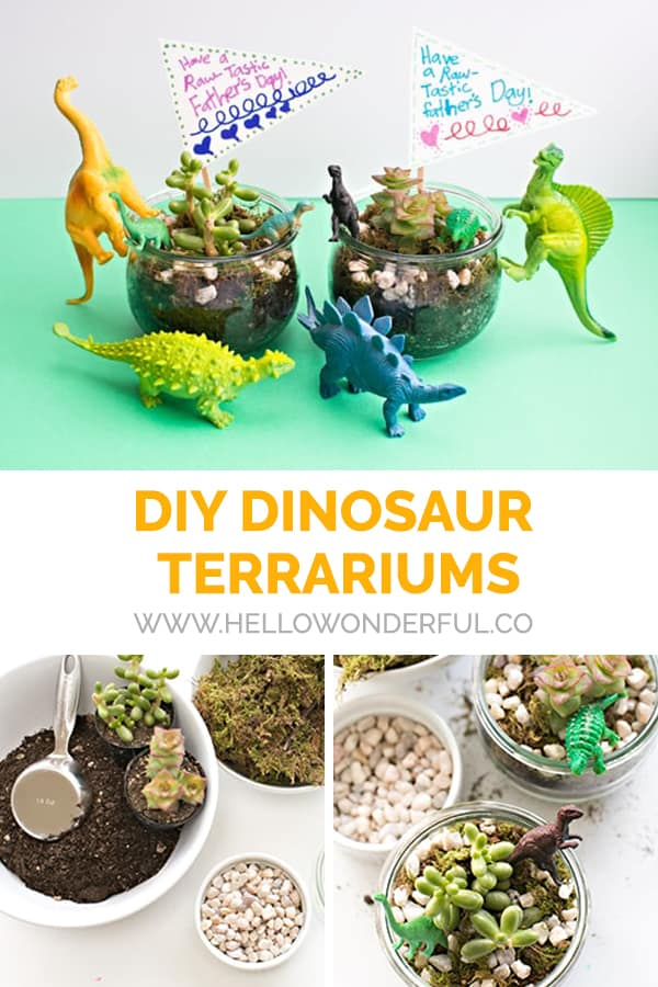 These fun DIY dinosaur terrariums are a great activity for kids and wonderful homemade gift for friends or Father's Day!
