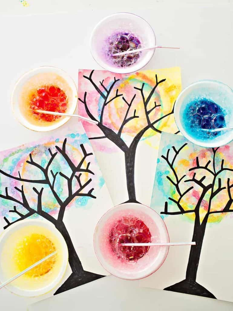 watercolor bubble art trees