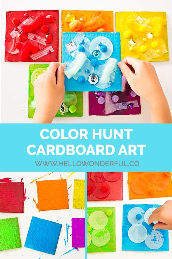 DIY Color Hunt Cardboard Art Activity for Kids