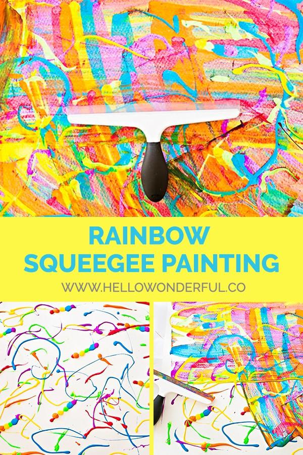 Make easy DIY squeegee rainbow paintings with kids!