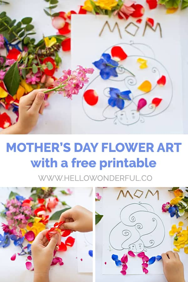 Mother's Day Flower Art with a Free Printable