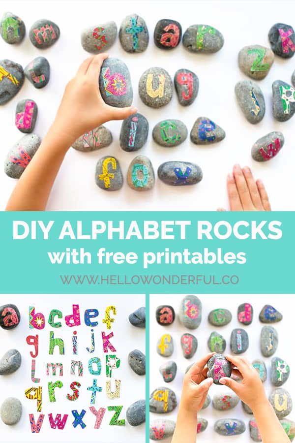 This fun nature craft uses rocks and our free printable to help kids learn the alphabet!