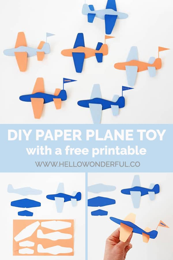 A simple DIY paper plane toy (free printable template included).