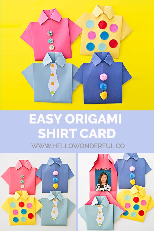 Make an easy origami shirt card.