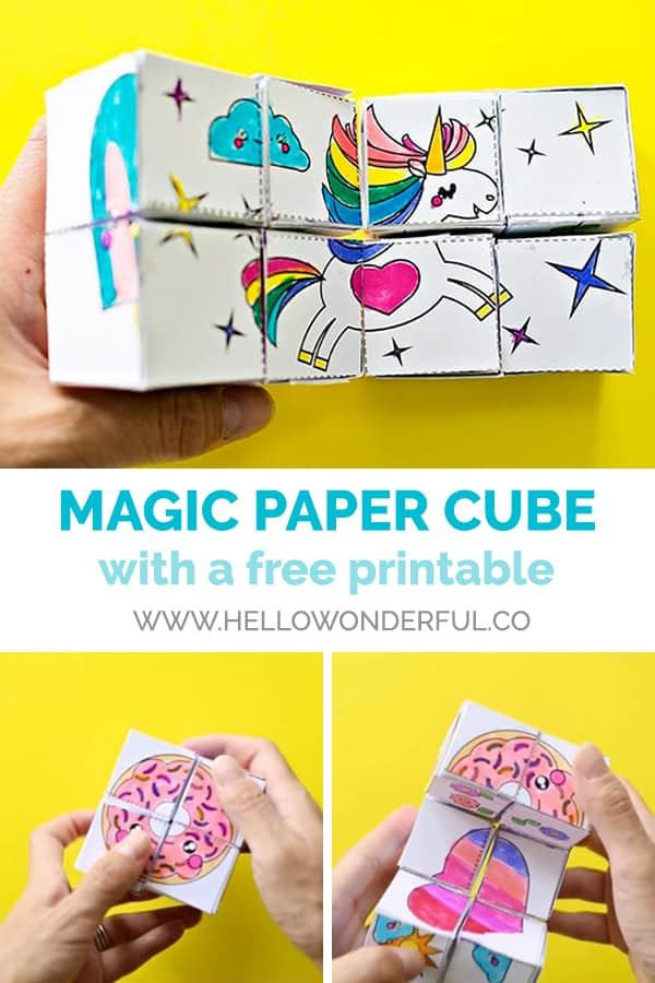 Make a magic paper cube toy kids can color and decorate themselves (free printable included).