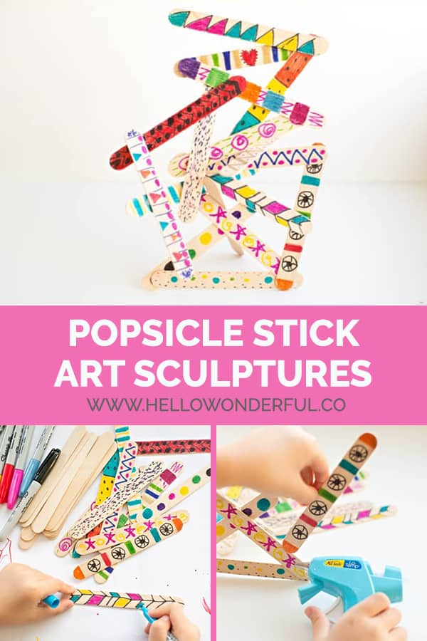 Use popsicle sticks to create imaginative art sculptures with kids.