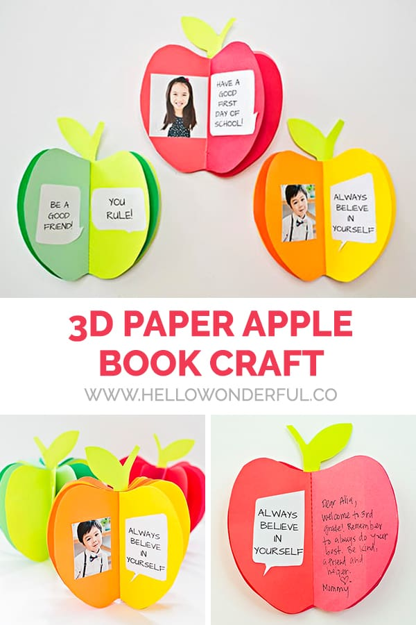 Make an adorable back-to-school keepsake with this 3D paper apple book craft!