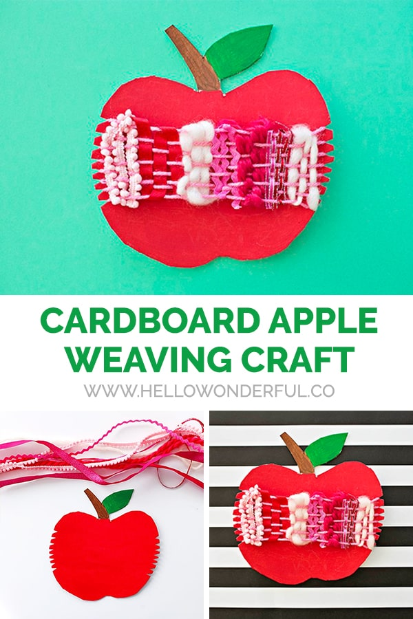 This cardboard apple weaving craft is a cute fall activity and great fine motor skill practice!