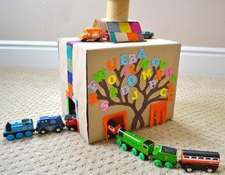 how to make a train tunnel out of paper mache
