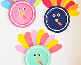 COLORFUL TURKEY PAPER PLATE CRAFT