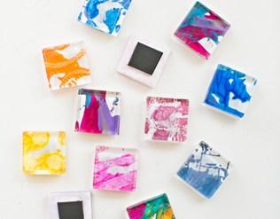 DIY GLASS TILE MAGNETS FROM KIDS' ART