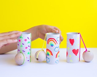 DIY PAPER TUBE BALL AND CUP GAME FOR KIDS
