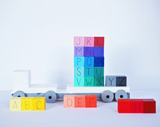 DIY RAINBOW WOODEN ABC BLOCKS AND TRUCK