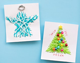 KID-MADE DIY STRING ART CHRISTMAS CARDS
