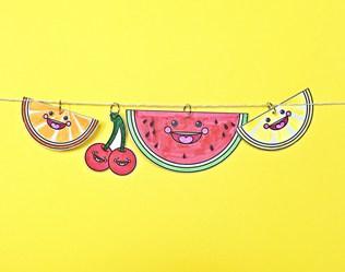 SUMMER PAPER FRUIT WEDGES COLORING FREE PRINTABLE