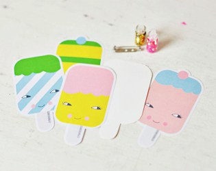 FREE PRINTABLE ICE CREAM PAPER BROOCHES