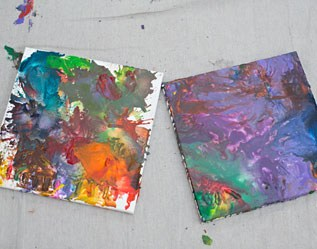 MELTED RECYCLED CRAYON ART