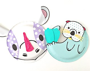 RHINO AND SEA OTTER PAPER PLATE CRAFT