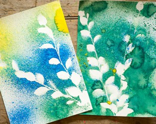 Nature Spray Painting With Kids