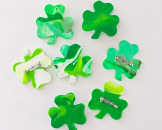 ST. PATRICK'S DAY SHAMROCK CLAY PINS