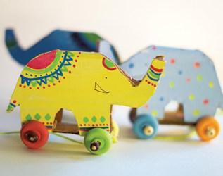 Personalized gift for toddler Wooden push toy Elephant