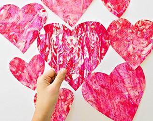 VALENTINE SHAVING CREAM HEART ART WITH KIDS