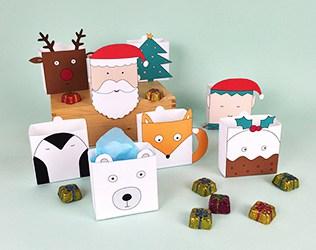 CUTE FREE PRINTABLE CHRISTMAS HOLIDAY FAVOR BOXES