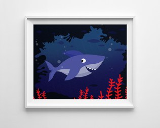 CUTE FREE PRINTABLE SHARK ART PRINT