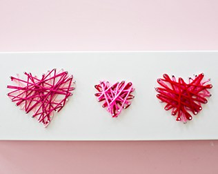 RECYCLED BOX VALENTINE HEART STRING ART