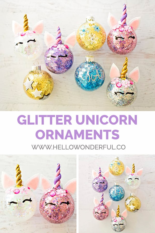 Make sparkly, beautiful and fun DIY glitter unicorn ornaments!