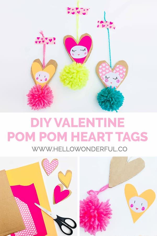 DIY Valentine Pom Pom Heart Tags