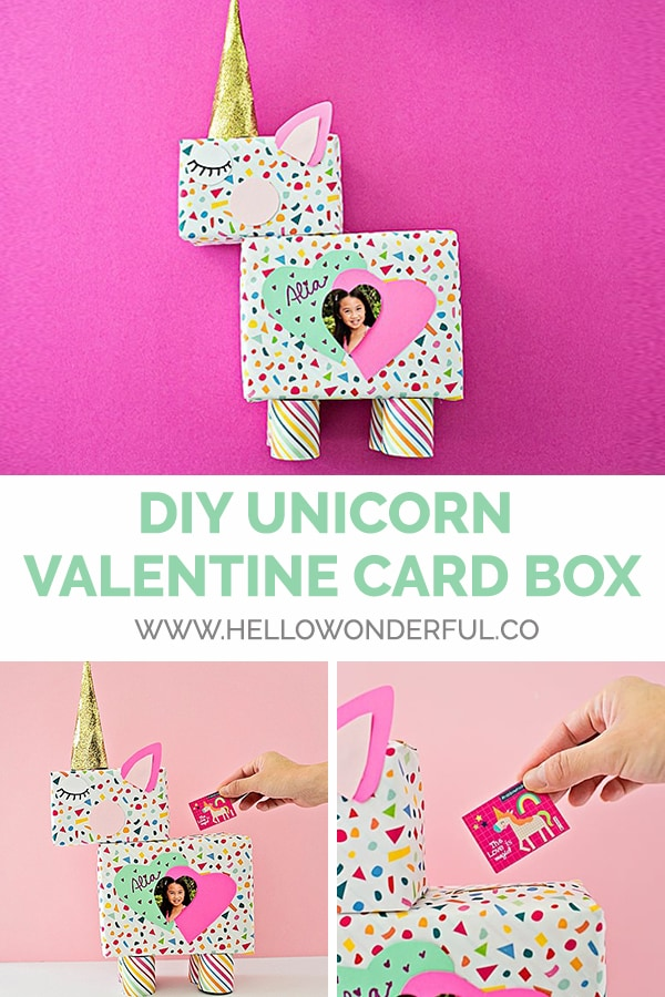 Make a DIY unicorn valentine card box customized with a photo and art!