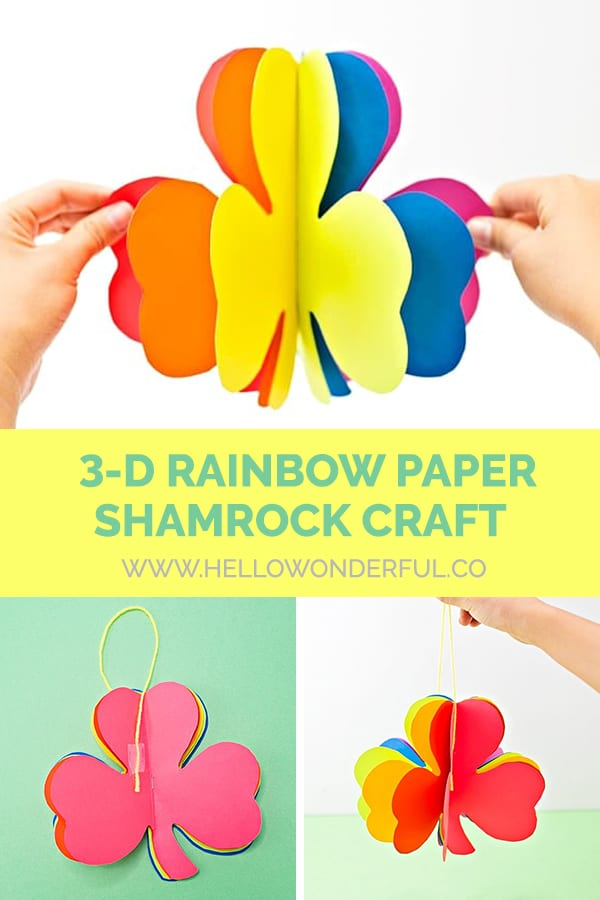 3D Rainbow Paper Shamrock Craft for Kids