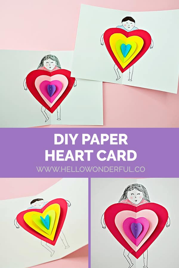 DIY Paper Heart Card Kids Valentine Craft